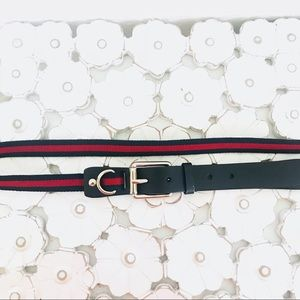 Gucci Belt Navy Blue & Red Web Stripe